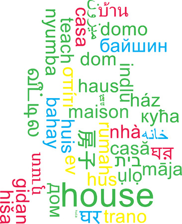 multiple house: Background concept wordcloud multilanguage international many language illustration of house
