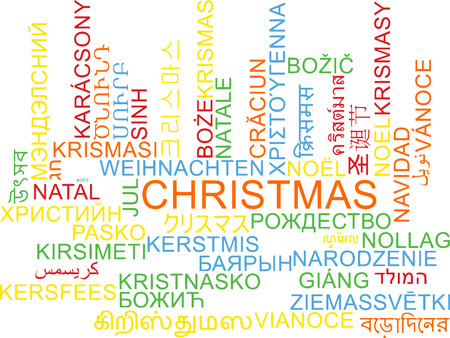 multilanguage: Background concept wordcloud multilanguage international many language illustration of Christmas Stock Photo