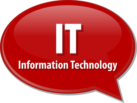 Speech bubble illustration of information technology acronym abbreviation term definition IT Information Technology