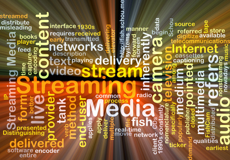 delivered: Background concept wordcloud illustration of streaming media glowing light