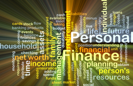 personal banking: Background concept wordcloud illustration of personal finance glowing light