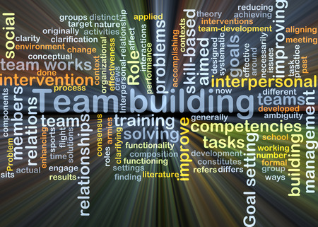 team building: Background concept wordcloud illustration of team building glowing light