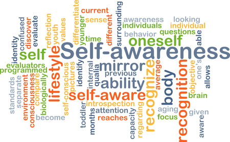 oneself: Background concept wordcloud illustration of self-awareness Stock Photo