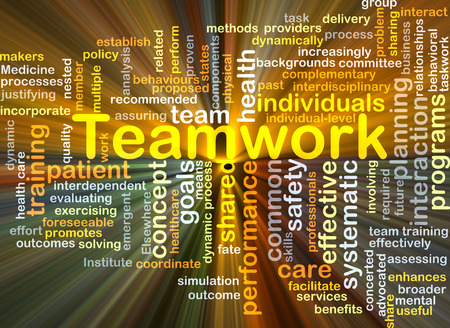 Background concept wordcloud illustration of teamwork glowing light Stock Photo