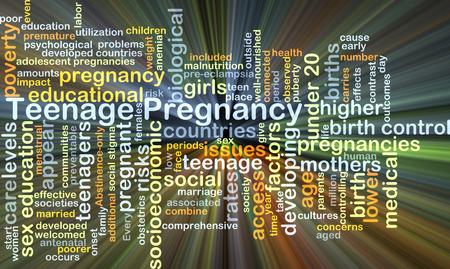 Concepto de fondo wordcloud ilustración de embarazo adolescente luz brillante