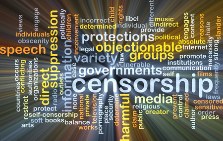 censorship: Background concept wordcloud illustration of censorship glowing light Stock Photo