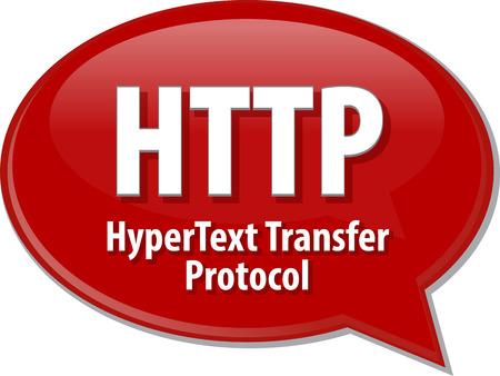 hypertext: Speech bubble illustration of information technology acronym abbreviation term definition HTTP Hypertext Transfer Protocol Stock Photo
