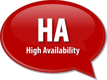 Speech bubble illustration of information technology acronym abbreviation term definition HA High Availability