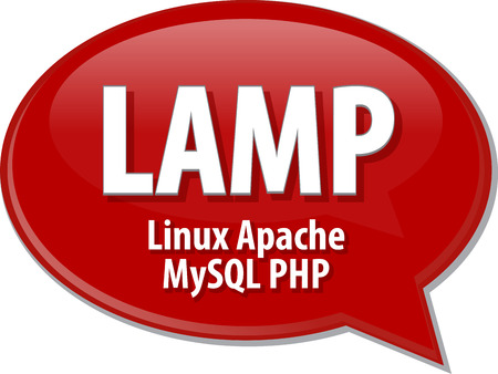 mysql: Speech bubble illustration of information technology acronym abbreviation term definition LAMP Linux Apache MySQL PHP