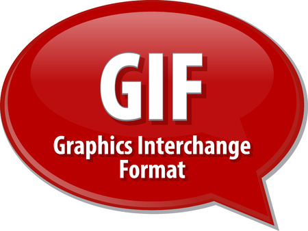 interchange: Speech bubble illustration of information technology acronym abbreviation term definition GIF Graphics Interchange Format