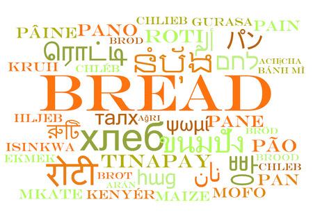 multilanguage: Bread multilanguage wordcloud background concept Stock Photo