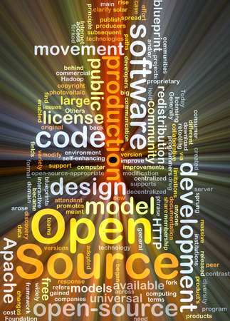 open source: Background concept wordcloud illustration of open source glowing light