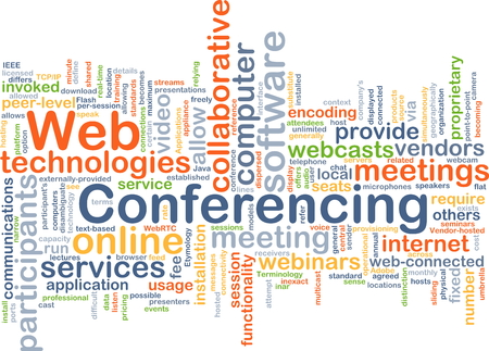 conferencing: Background concept wordcloud illustration of web conferencing Stock Photo