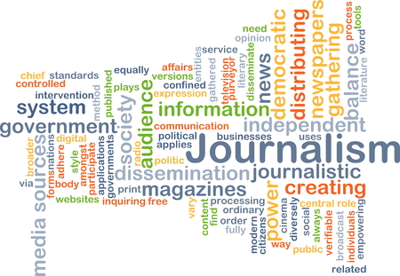 journalism: Background concept wordcloud illustration of journalism Stock Photo