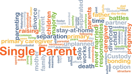 single parent: Background concept wordcloud illustration of single parent Stock Photo