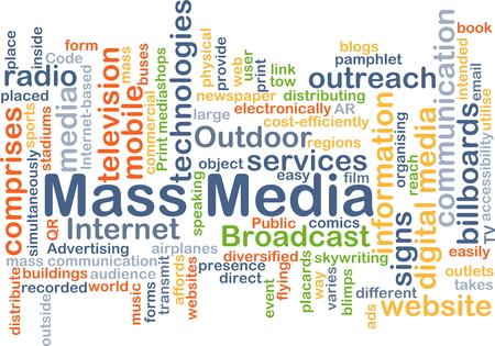 Achtergrond concept wordcloud illustratie van de massamedia Stockfoto