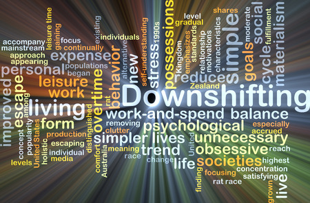 downshifting: Background concept wordcloud illustration of downshifting glowing light