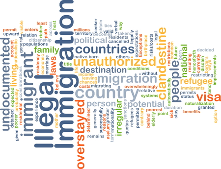 immigration: Background concept wordcloud illustration of illegal immigration
