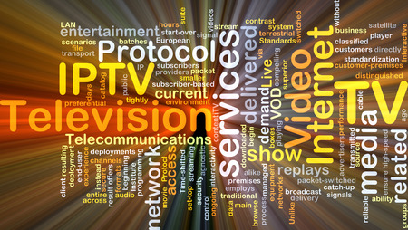 iptv: Background concept wordcloud illustration of internet protocol television IPTV glowing light Stock Photo