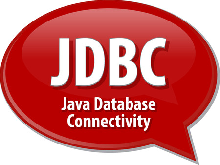 java: Speech bubble illustration of information technology acronym abbreviation term definition JDBC Java Database Connectivity