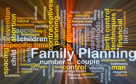 spacing: Background concept wordcloud illustration of family planning glowing light