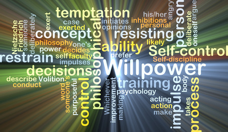 to restrain: Background concept wordcloud illustration of willpower glowing light Stock Photo