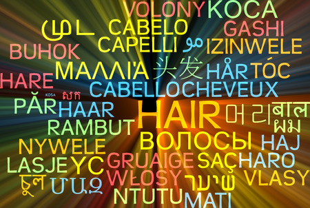 foreign bodies: Background concept wordcloud multilanguage international many language illustration of hair glowing light