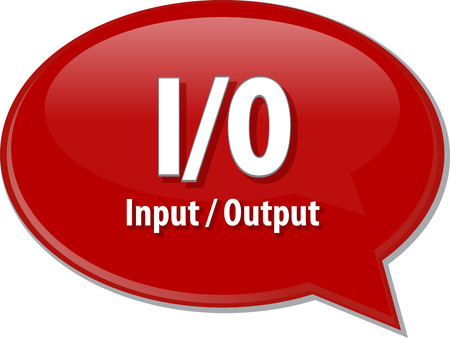 Speech bubble illustration of information technology acronym abbreviation term definition IO InputOutput