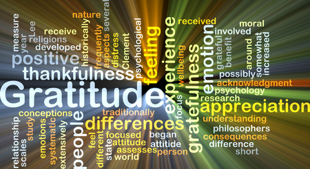 thankfulness: Background concept wordcloud illustration of gratitude glowing light Stock Photo