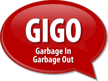 abbreviation: Speech bubble illustration of information technology acronym abbreviation term definition GIGO Garbage In Garbage Out