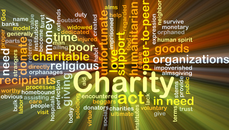 unfortunate: Background concept wordcloud illustration of charity glowing light Stock Photo