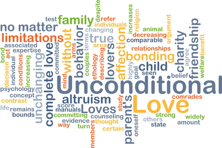 bounding: Background concept wordcloud illustration of unconditional love
