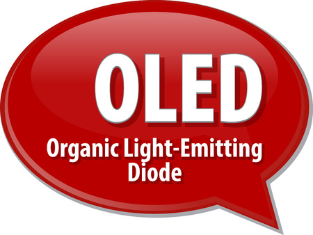 light emitting diode: Speech bubble illustration of information technology acronym abbreviation term definition OLED Organic Light-Emitting Diode