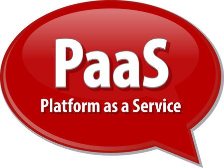 abbreviation: Speech bubble illustration of information technology acronym abbreviation term definition PaaS Platform as a Service Stock Photo