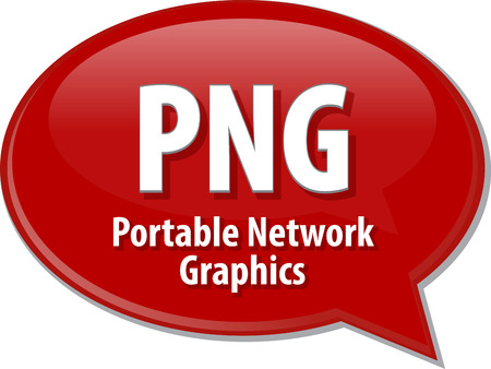 png: Speech bubble illustration of information technology acronym abbreviation term definition PNG Portable Network Graphics