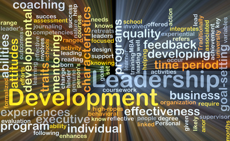 organization development: Background concept wordcloud illustration of leadership development glowing light