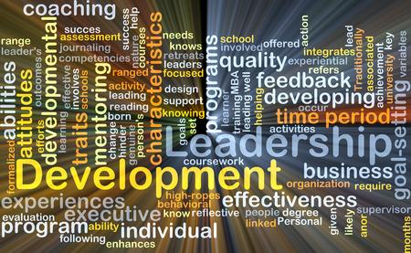 Wordcloud Hintergrund Konzept der Entwicklung von Führungsqualitäten glühenden Licht Lizenzfreie Bilder