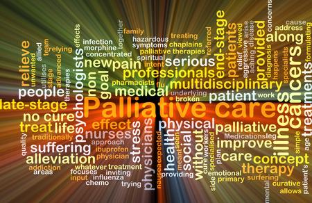 Achtergrond concept wordcloud illustratie van de palliatieve zorg gloeiende licht Stockfoto