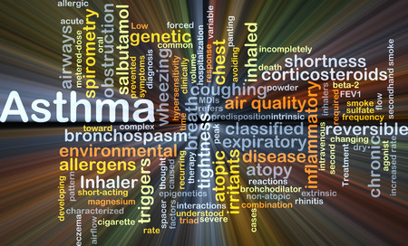 Background concept wordcloud illustration of asthma glowing light