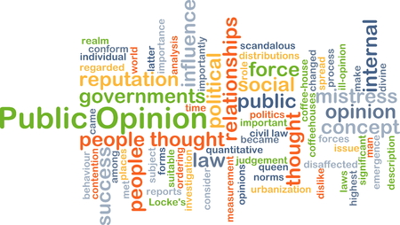 opinion: Background concept wordcloud illustration of public opinion Stock Photo