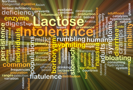 intolerance: Background concept wordcloud illustration of lactose intolerance glowing light