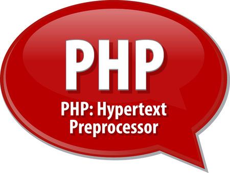hypertext: Speech bubble illustration of information technology acronym abbreviation term definition PHP Hypertext Preprocessor