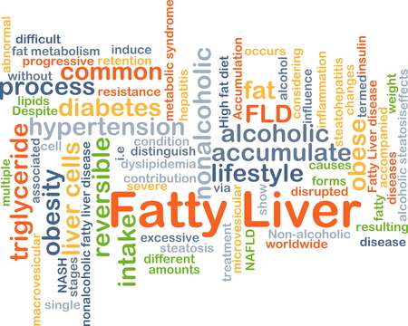 fatty liver: Background concept wordcloud illustration of fatty liver Stock Photo