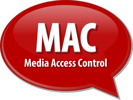 access control: Speech bubble illustration of information technology acronym abbreviation term definition MAC Media Access Control