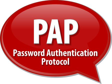 authentifizierung: Sprechblase Illustration der Informationstechnologie Abk�rzung Abk�rzung Begriff Definition PAP Password Authentication Protocol