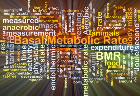 metabolic: Background concept wordcloud illustration of basal metabolic rate BMR glowing light