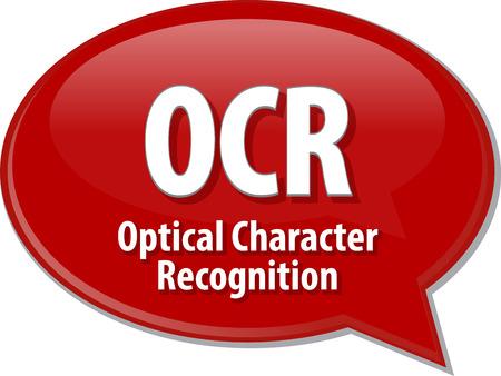 reconocimiento: ilustraci�n de la burbuja del discurso de la tecnolog�a de informaci�n sobre las siglas t�rmino abreviatura definici�n OCR reconocimiento �ptico de caracteres