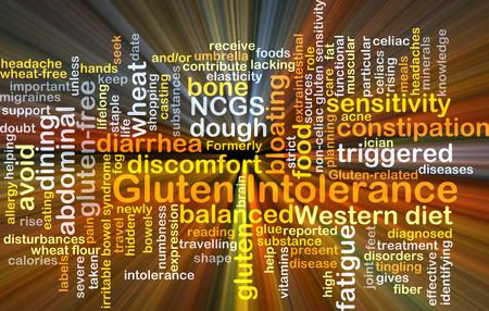 intolerancia: Concepto de fondo wordcloud ilustraci�n de la luz que brilla intensamente la intolerancia al gluten Foto de archivo