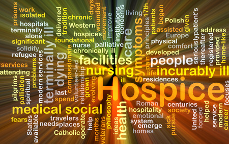 hospice: Background concept wordcloud illustration of hospice glowing light Stock Photo