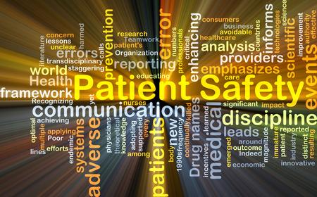Wordcloud Hintergrund Konzept der Patientensicherheit glühenden Licht Lizenzfreie Bilder